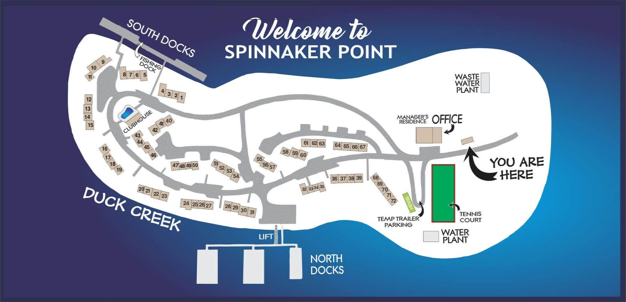 The welcome sign here at Spinnaker Point